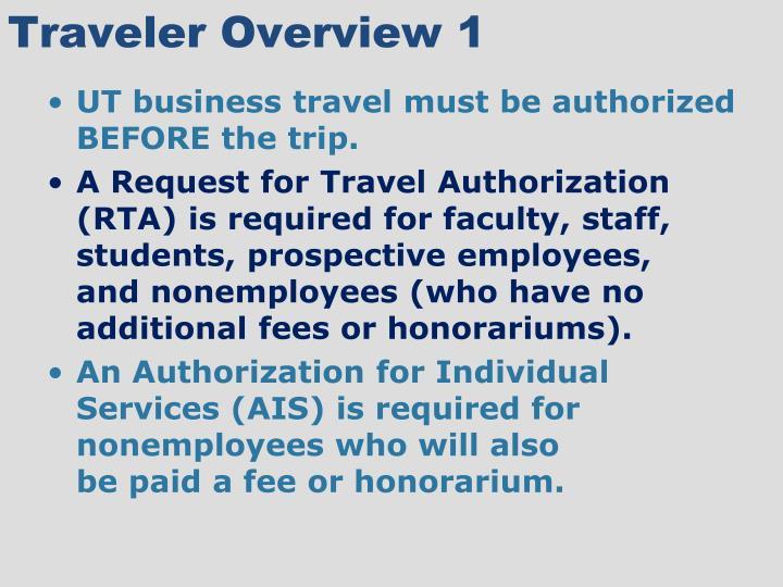 Traveler overview 1