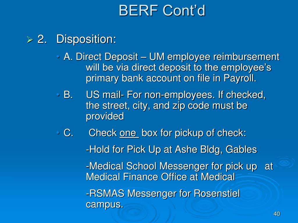 BERF Cont'd
