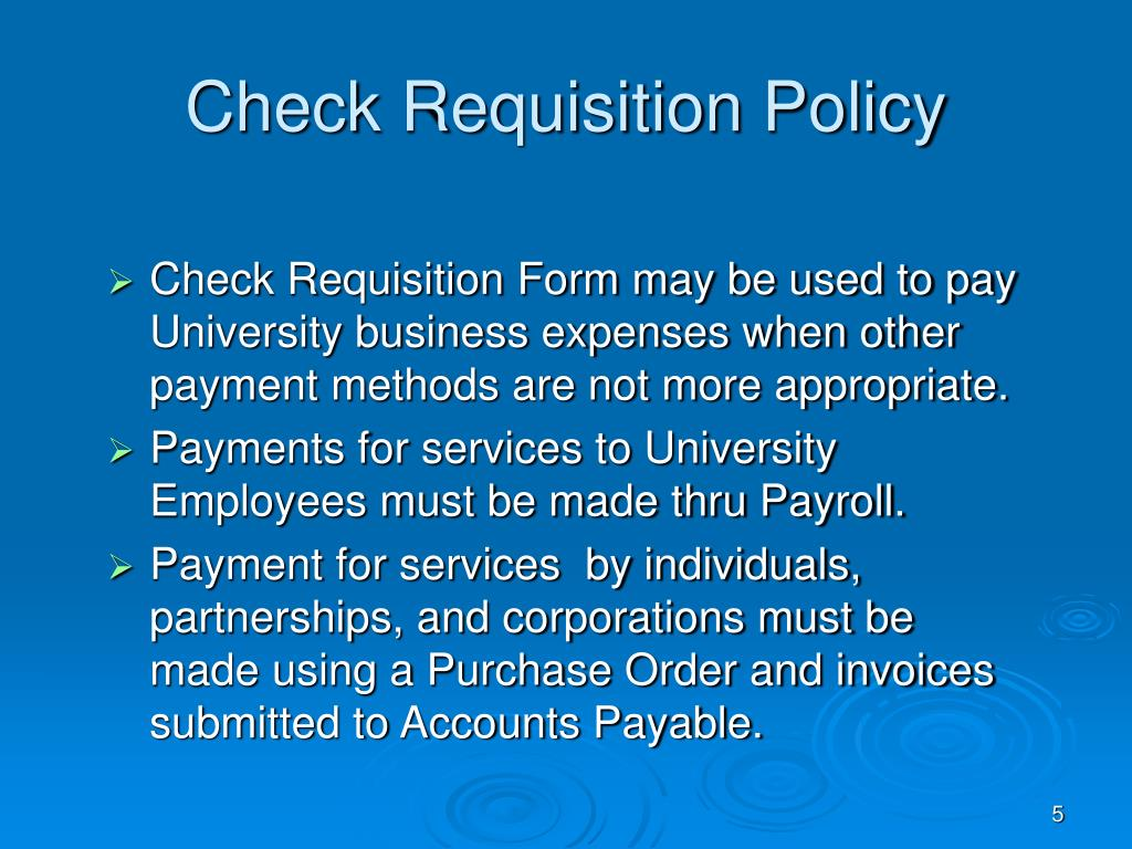 Check Requisition Policy