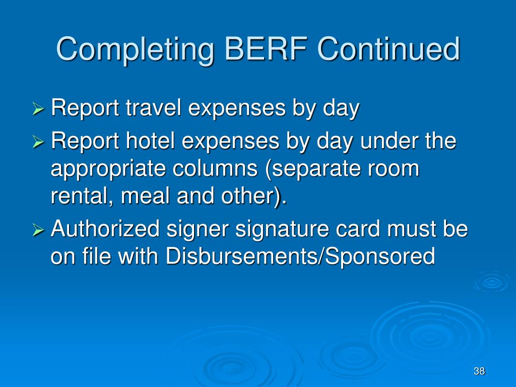 Completing BERF Continued
