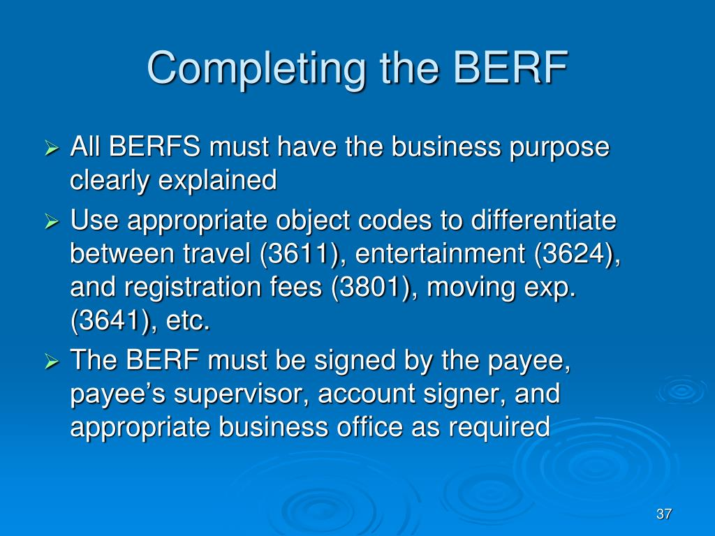 Completing the BERF