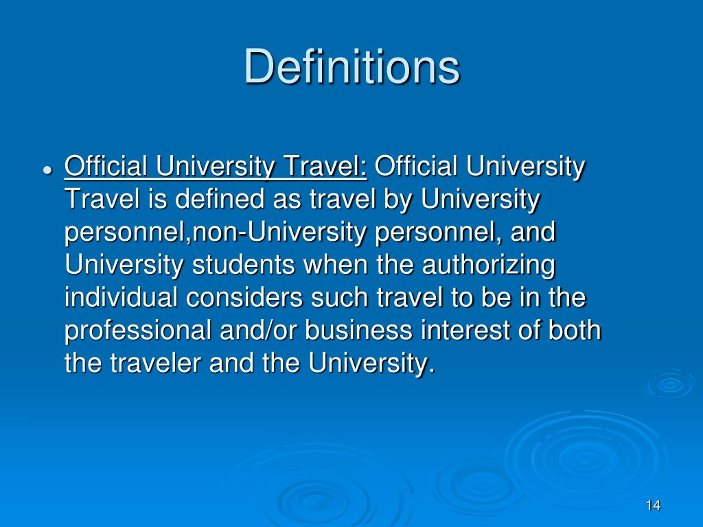 Official University Travel: