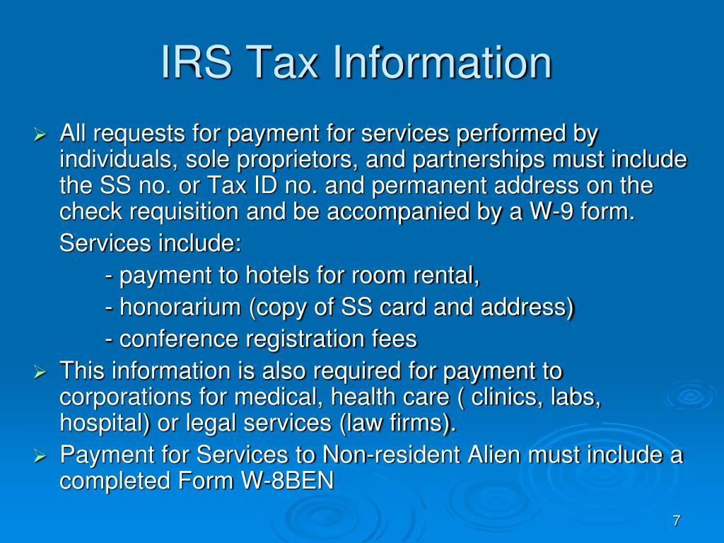 IRS Tax Information