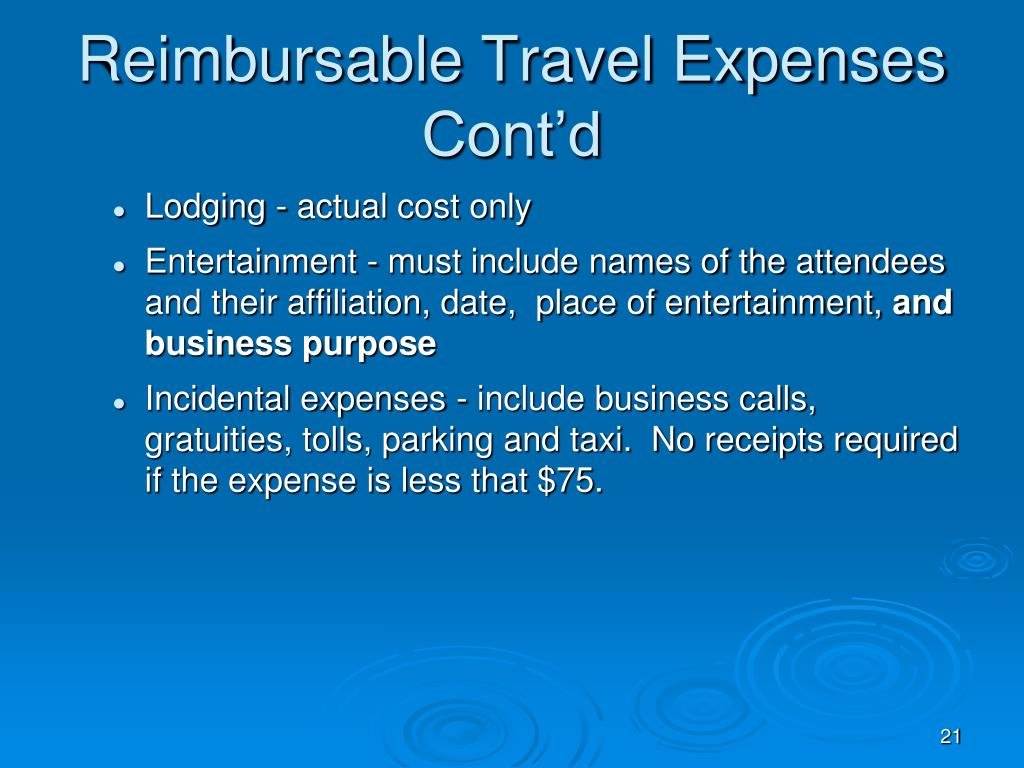 Reimbursable Travel Expenses Cont'd