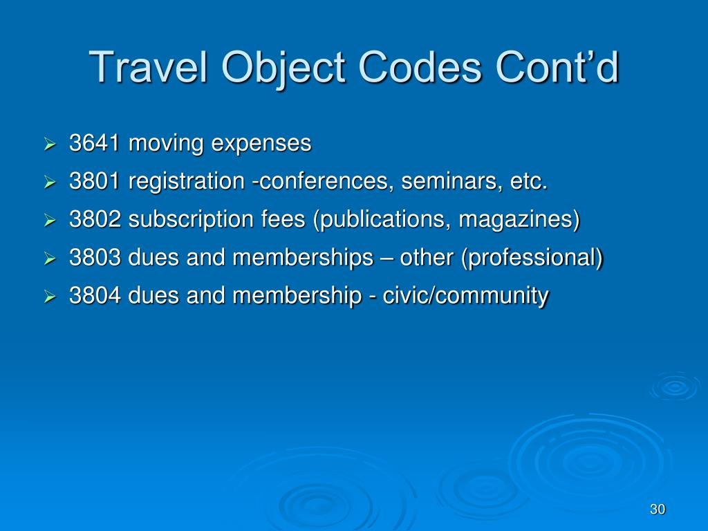 Travel Object Codes Cont'd