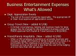 business entertainment expenses what s allowed