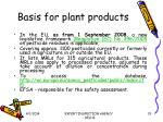 basis for plant products