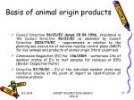basis of animal origin products
