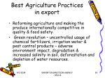 best agriculture practices in export