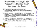 certificate of analysis for aquaculture shrimps meant for export to japan