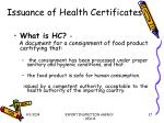 issuance of health certificates