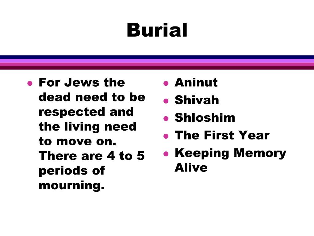 For Jews the dead need to be respected and the living need to move on.  There are 4 to 5 periods of mourning.