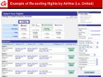 example of re sorting flights by airline i e united