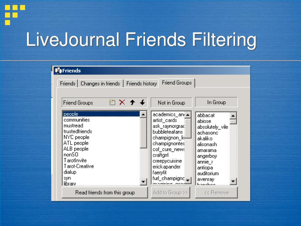 LiveJournal Friends Filtering