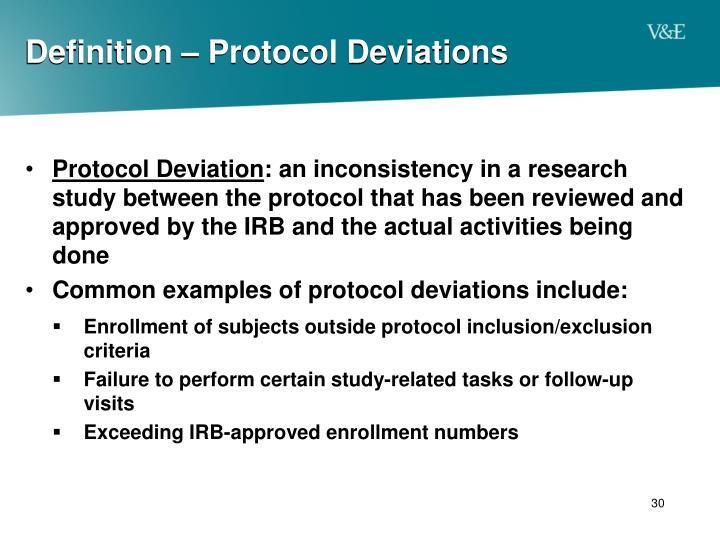 Definition – Protocol Deviations