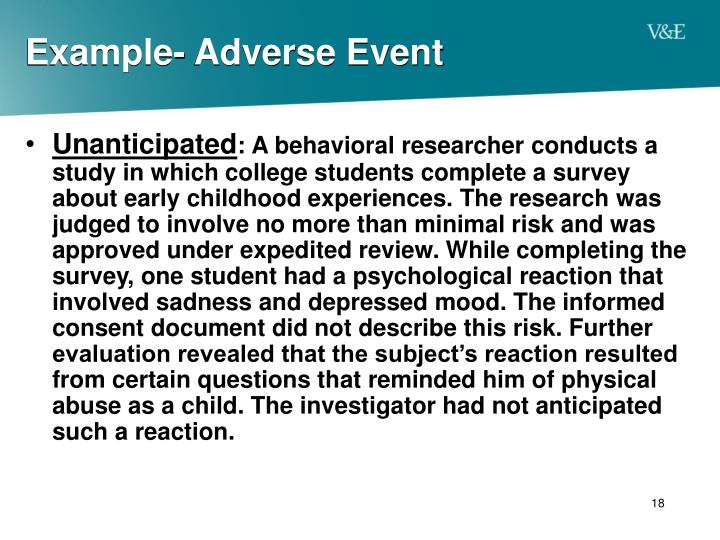 Example- Adverse Event