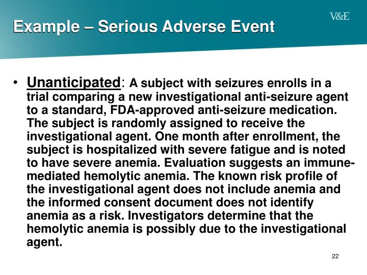 Example – Serious Adverse Event