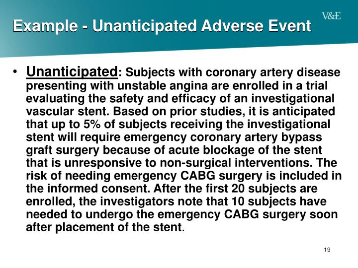 Example - Unanticipated Adverse Event