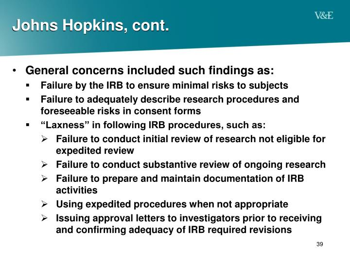 Johns Hopkins, cont.