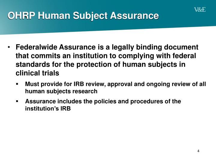 OHRP Human Subject Assurance