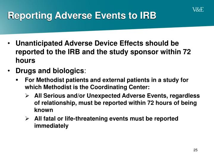Reporting Adverse Events to IRB
