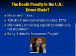the death penalty in the u s errors made
