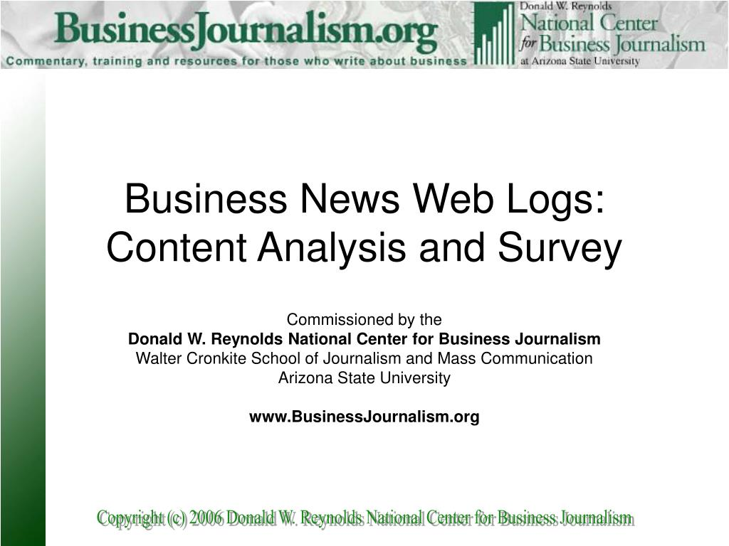 business news web logs content analysis and survey l.