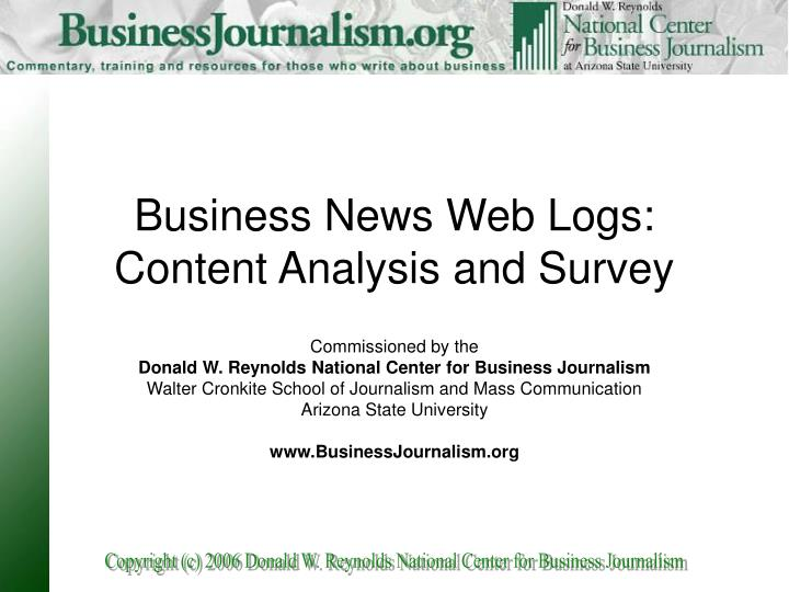 Business news web logs content analysis and survey
