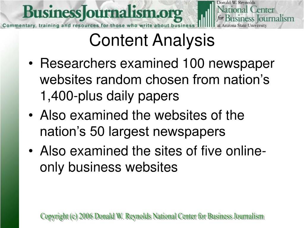 Researchers examined 100 newspaper websites random chosen from nation's 1,400-plus daily papers