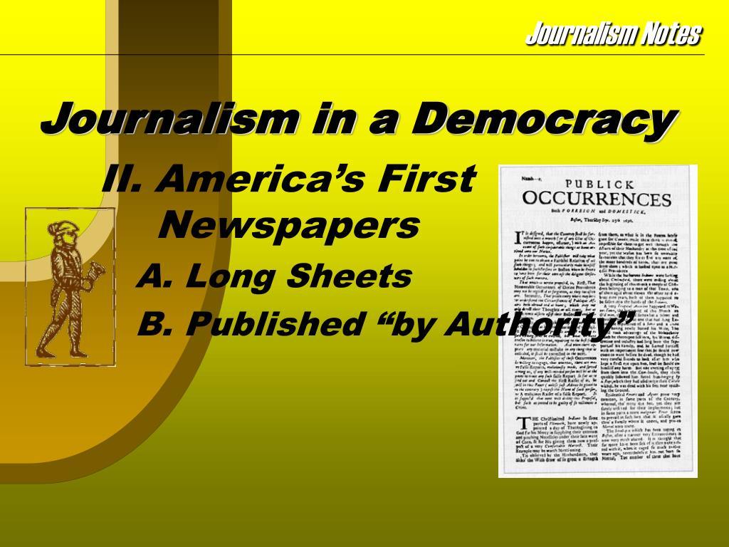 Journalism in a Democracy