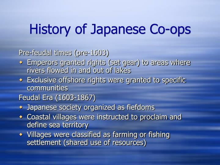 History of Japanese Co-ops