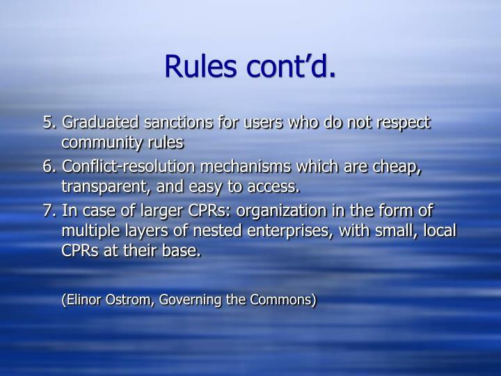Rules cont'd.