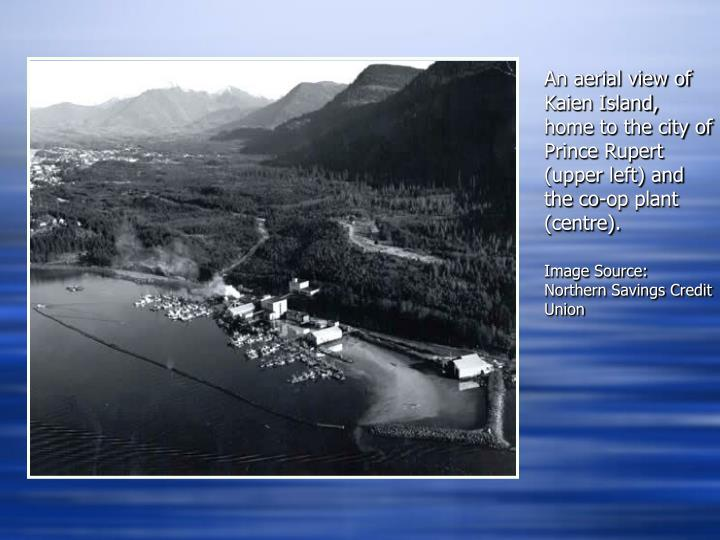 An aerial view of Kaien Island, home to the city of Prince Rupert (upper left) and the co-op plant (centre).