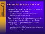 ads and pr in early 20th cent