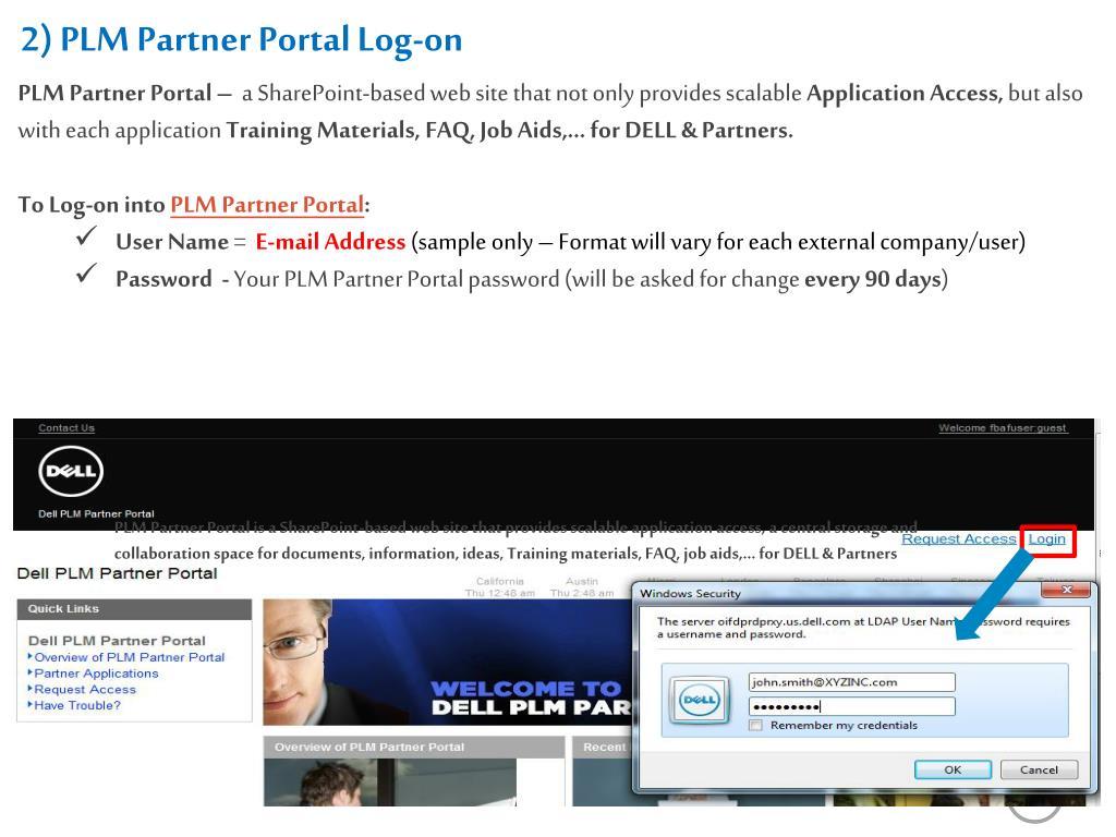 2) PLM Partner Portal Log-on