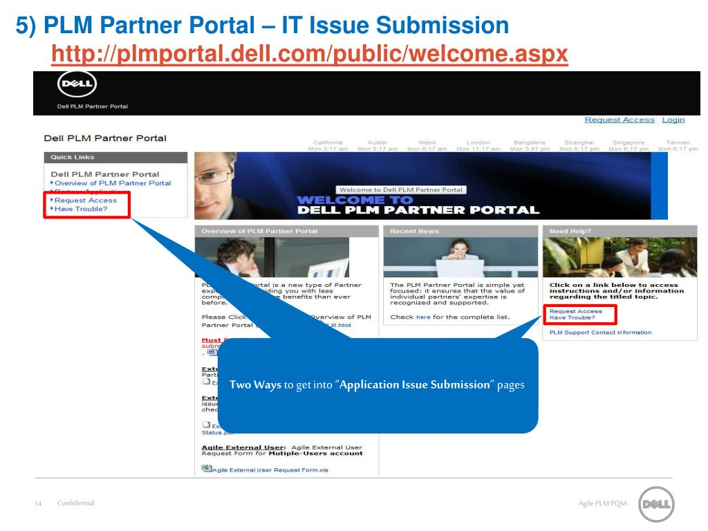 5) PLM Partner Portal – IT Issue Submission