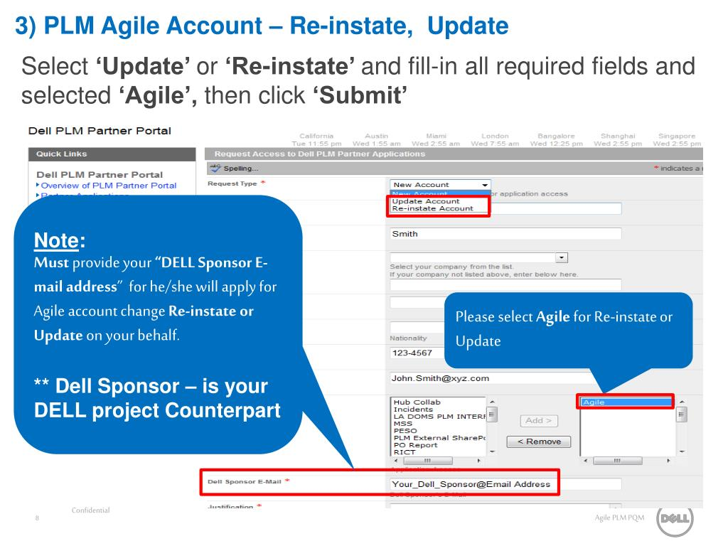 3) PLM Agile Account – Re-instate,  Update