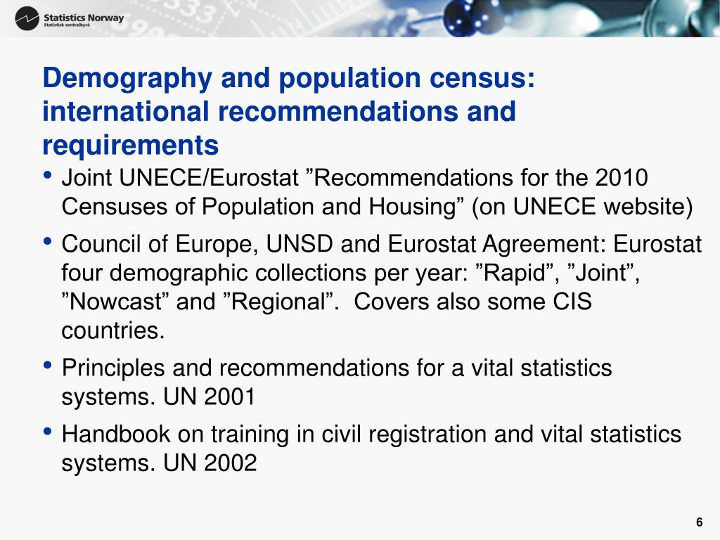 Demography and population census: international recommendations and requirements
