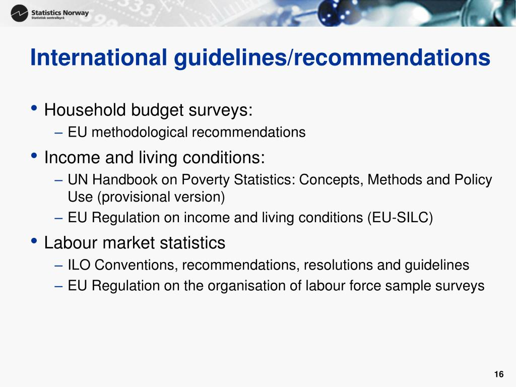 International guidelines/recommendations