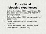 educational blogging experiences