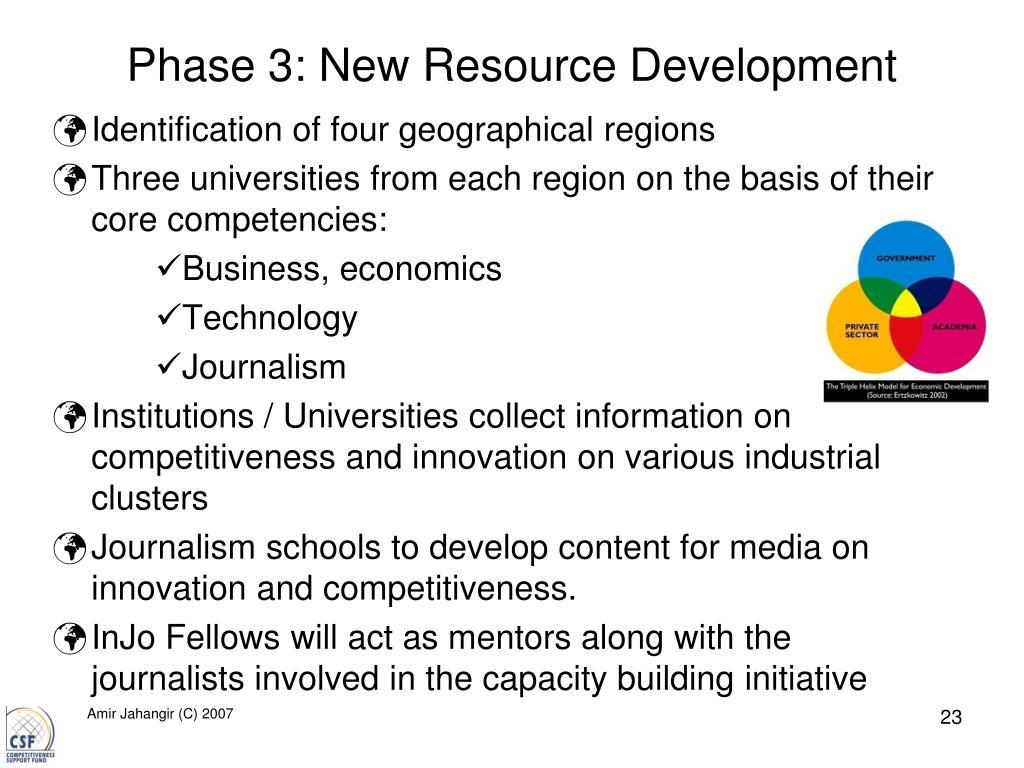 Phase 3: New Resource Development