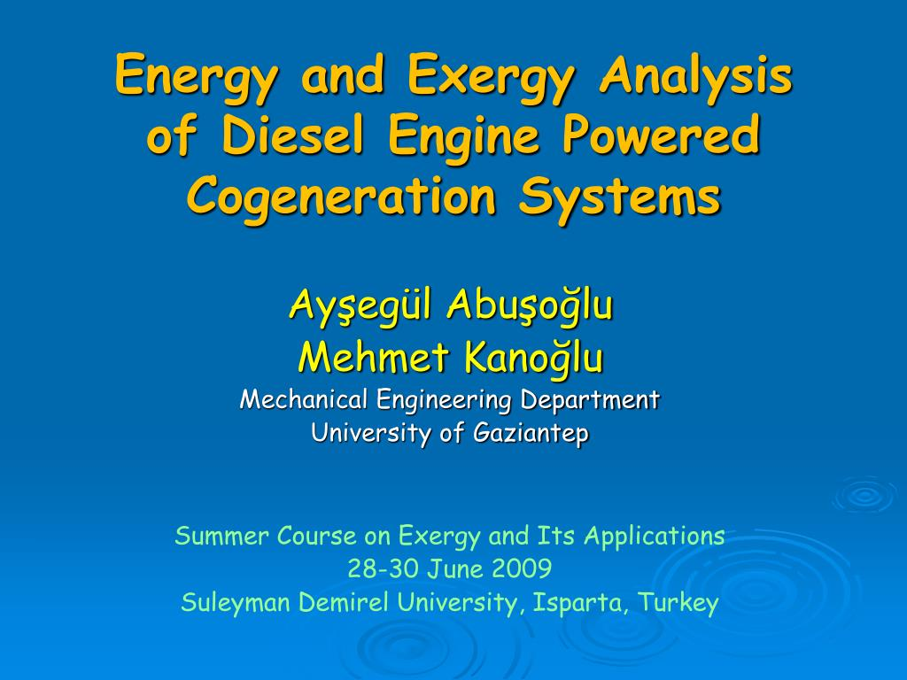 Ppt Energy And Exergy Analysis Of Diesel Engine Powered Cogeneration Diagram Systems L