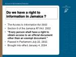 do we have a right to information in jamaica