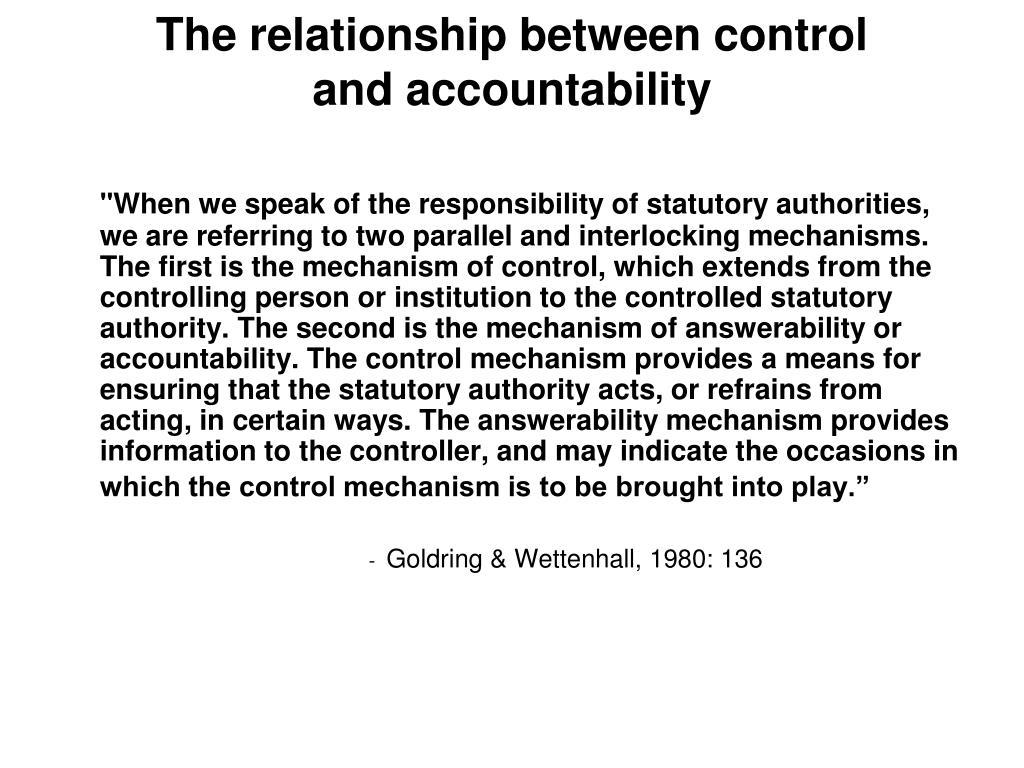 The relationship between control