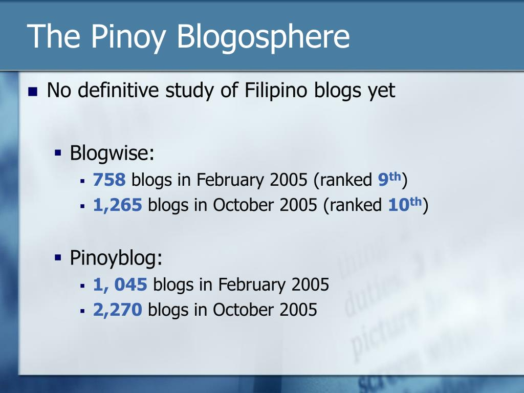 The Pinoy Blogosphere