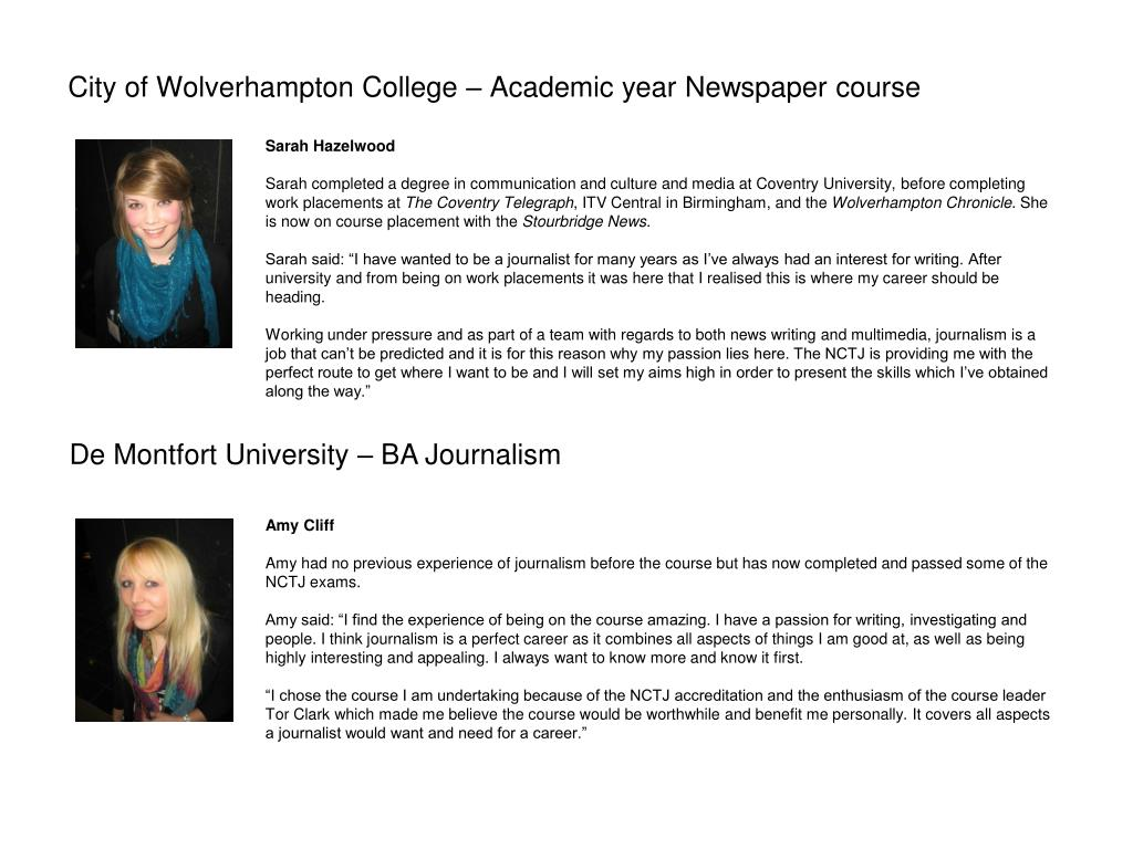 City of Wolverhampton College – Academic year Newspaper course
