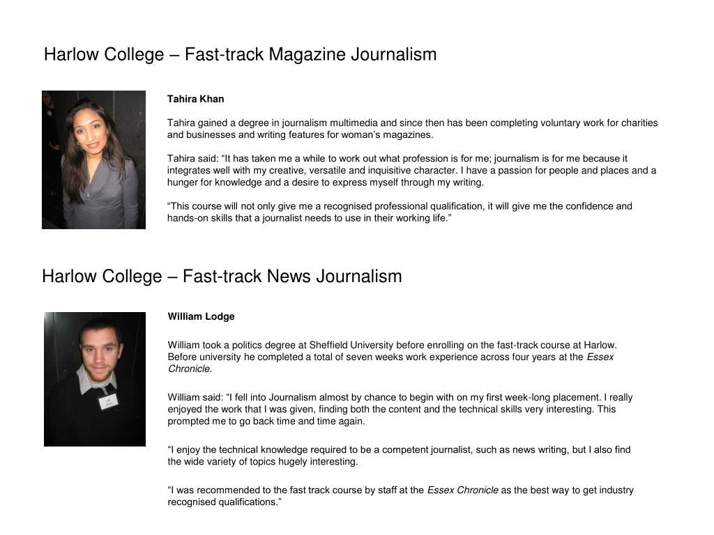 Harlow College – Fast-track News Journalism