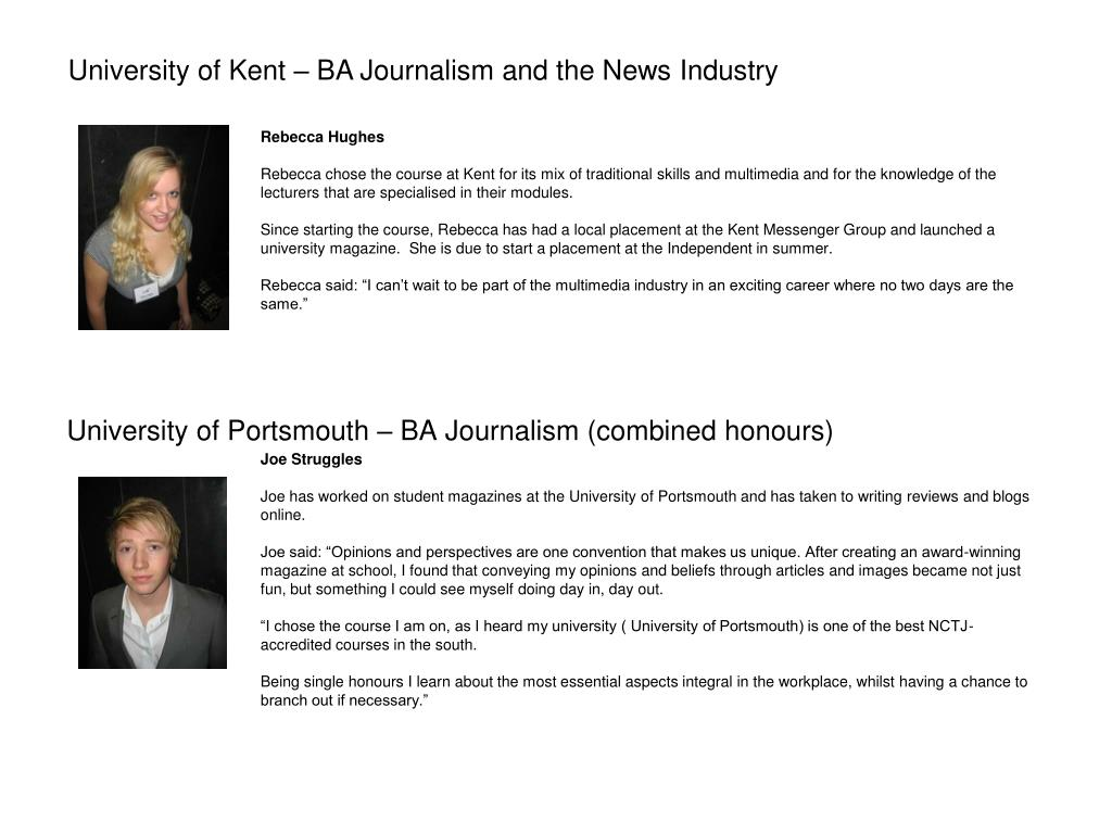 University of Portsmouth – BA Journalism (combined honours)