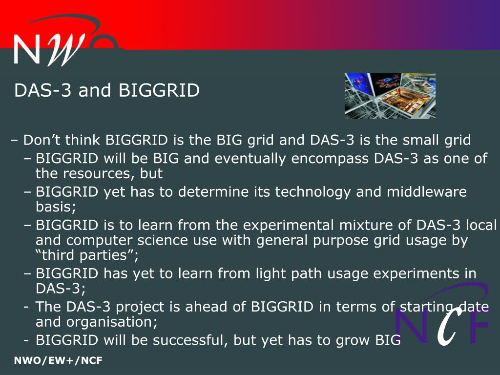 DAS-3 and BIGGRID