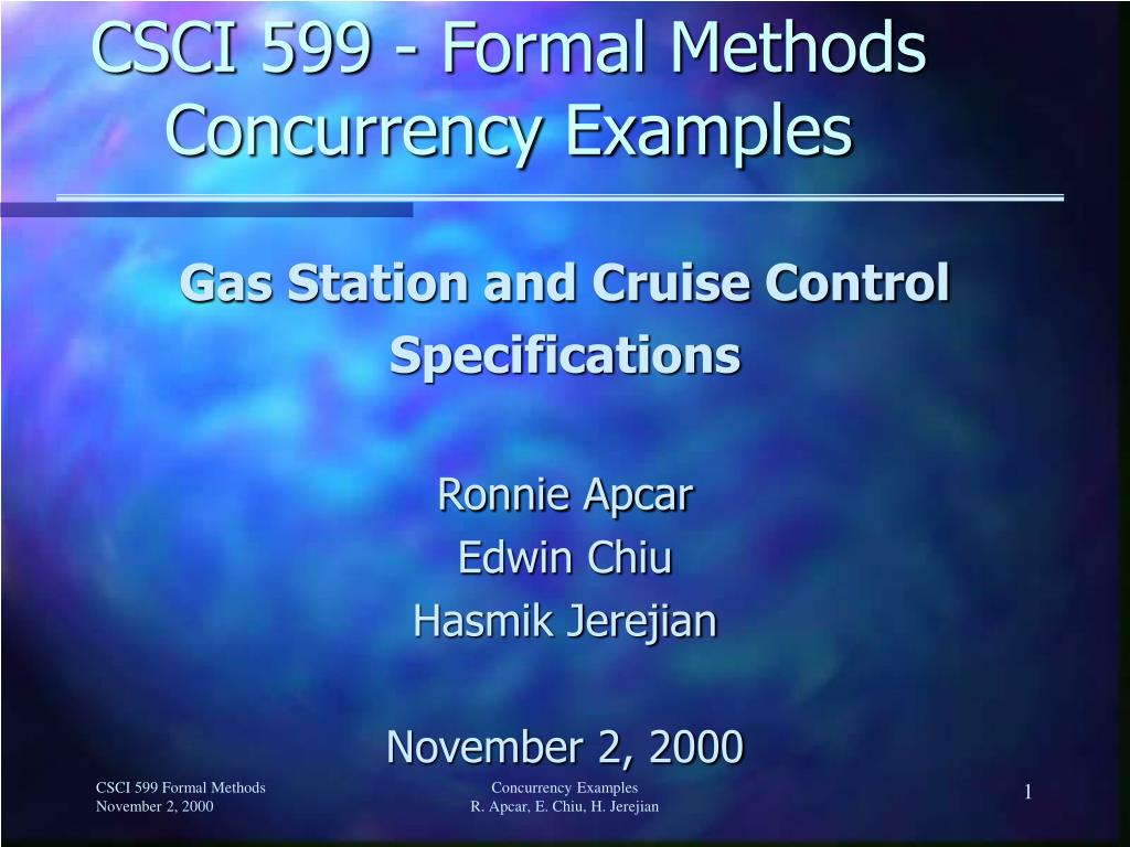 CSCI 599 - Formal Methods